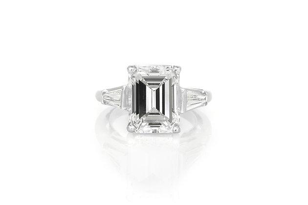 5.20 Carat Emerald Cut Engagement Ring top view