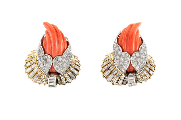 Sterle Coral and Diamond Earrings front view
