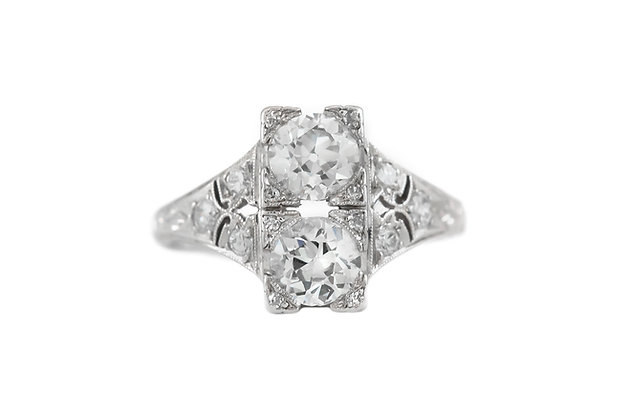 1930's Filigree with Two Center I/VS Diamonds Ring