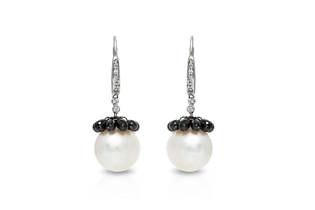 South-sea Pearl Black Diamond Drop Earrings Front View