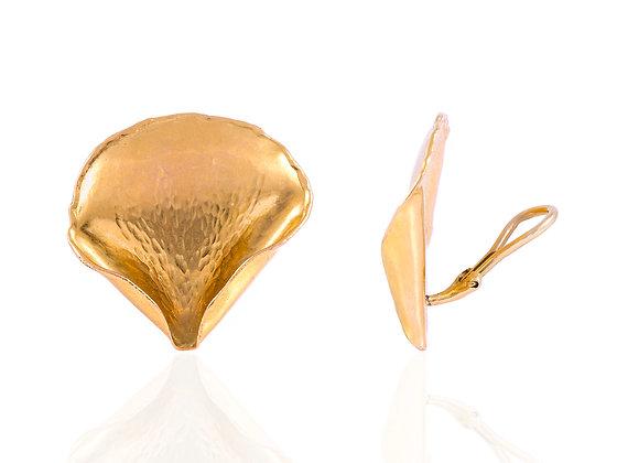 Tiffany & Co. Angela Cummings Gold Rose Petal Earrings Front View