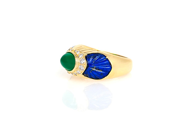 Cartier Green Rhodochrosite Blue Lapis Diamond Ring