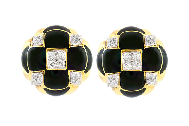 David Webb Gold Clip-on Earrings with Diamonds front