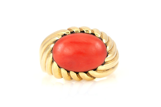 Coral Cocktail Ring top