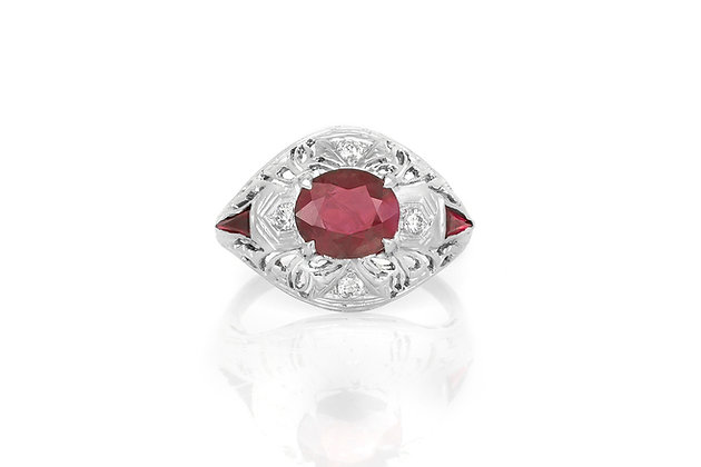 1.84 Carat Cushion Cut Ruby & Diamond Ring top view