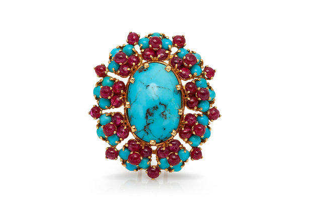 French Ruby Turquoise Brooch Front View