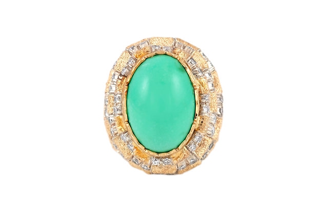 Turquoise Gold Cocktail Ring top