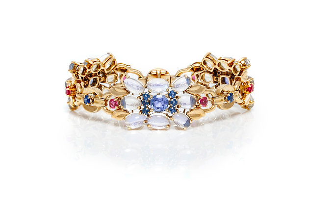 Raymond Yard Moonstone Sapphire and Ruby Bracelet Front View