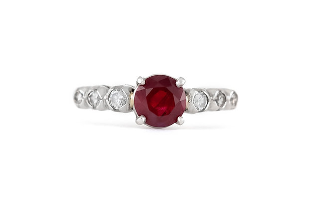 1980s Engagement Ring with Center Ruby