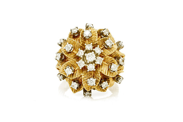 Yellow Gold Flower Diamond Ring Front View
