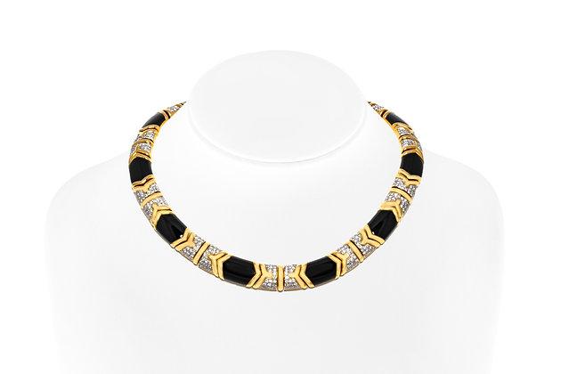 Onyx Diamond Necklace On Neck View