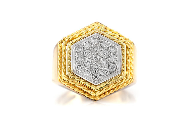 Hexagonal Gold Ring with Diamonds top