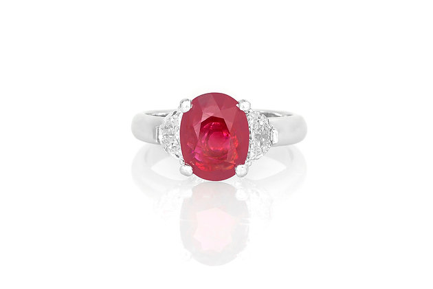 2.71 Oval Shaped Ruby and Diamond Ring top view