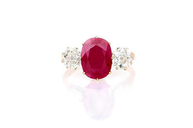 3.00 Burma Ruby & Diamond Ring top view