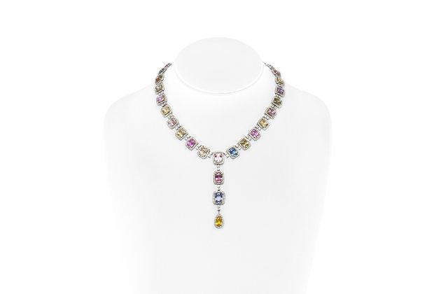 Multi-color Sapphire Diamond Necklace Front View