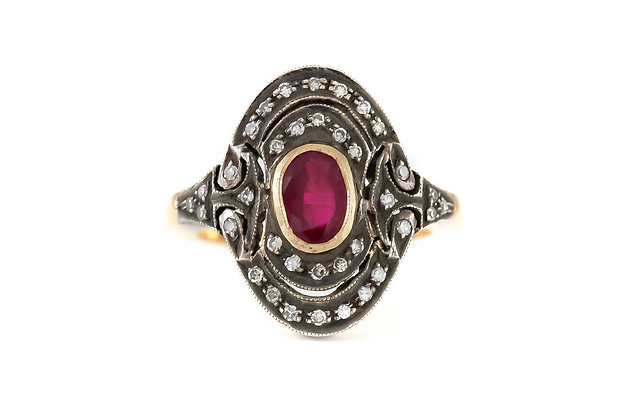 1860s Ruby with Diamonds on Replica Setting Ring