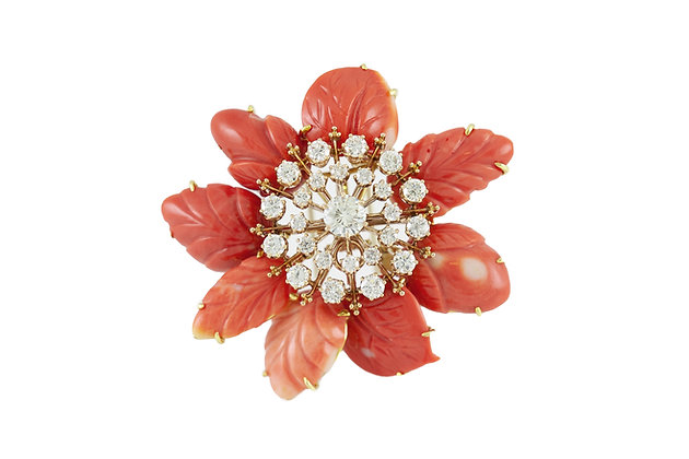 David Webb Coral Pin With Diamonds front