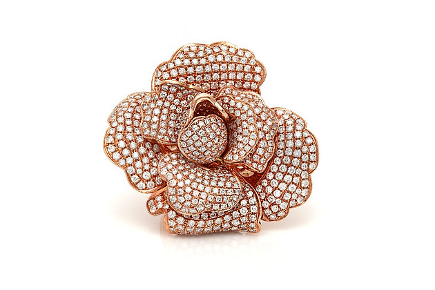 Micro Pave Diamond Flower Ring Front View