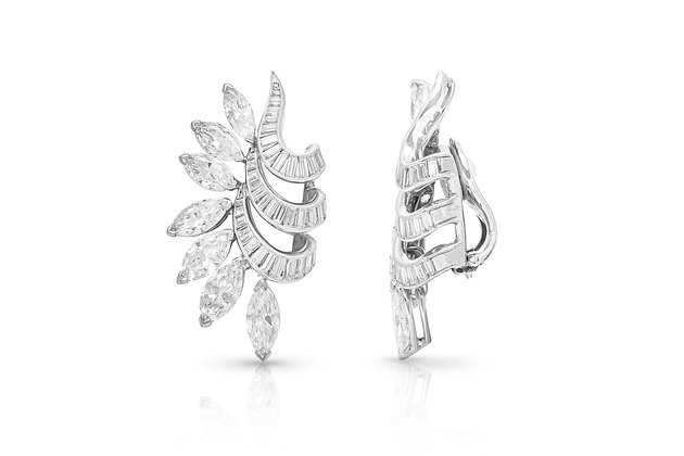 Diamond Clip-On Earrings Close-up View