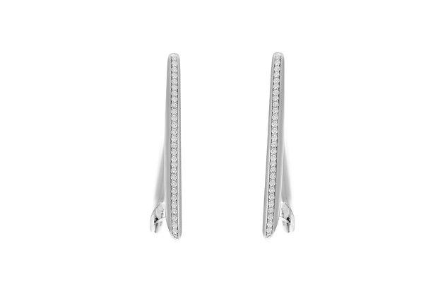 Vhernier White Gold Ellipse Hoop Earrings with Diamonds
