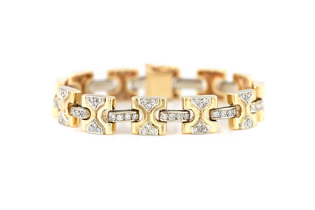 1980s 18K Gold Diamond Link Bracelet