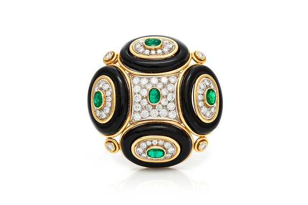 Onyx Emerald Diamond Round Pin Front View