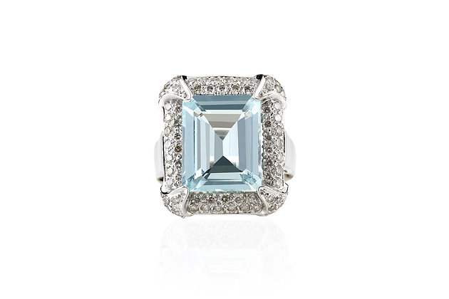 10.00 Carat Aquamarine Ring Top