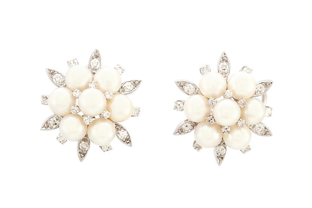 1.50 Carat Diamond and Pearls Earrings front view
