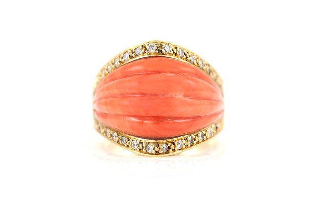 Coral Cocktail Ring with Diamonds top