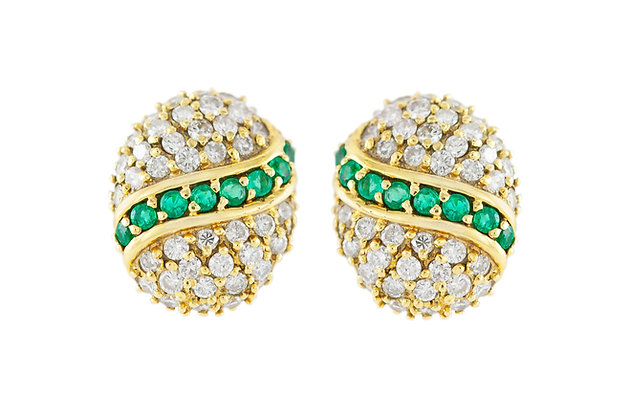 Emerald Diamond Gold Clip-On Earrings front