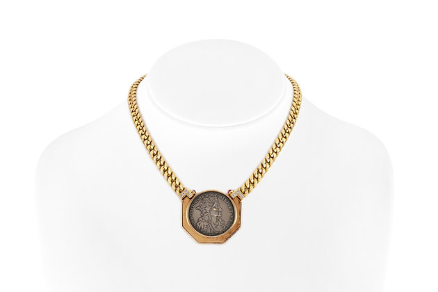 Bvlgari Coin Necklace with Two Small Rubies