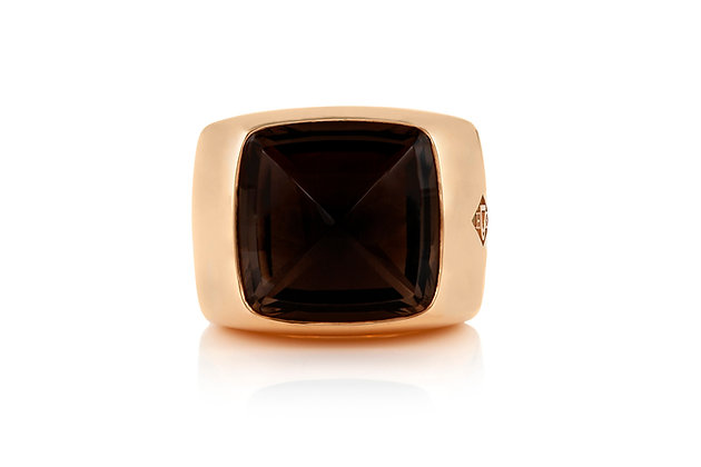 Hermes Emile Gold Ring With Smoky Quartz Front View