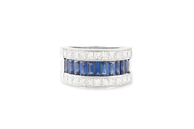 sapphire and diamond band front