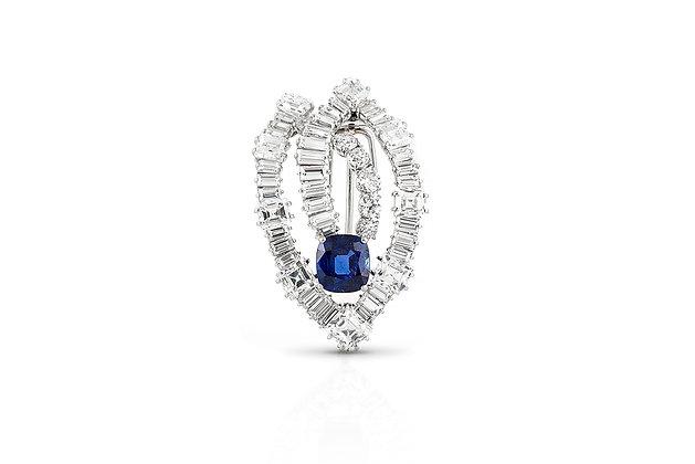7.64 Carat Burmese Sapphire and Diamond Cartier Brooch
