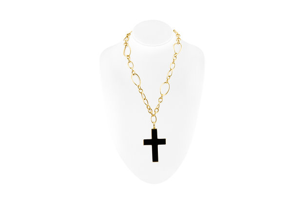 Farone Manella Necklace with Onyx Cross Pendant front