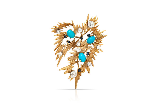 Pointy Diamond Turquoise Sapphire Brooch Front View