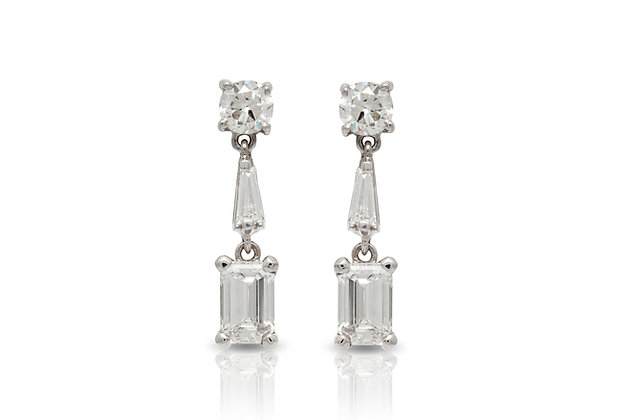 Diamond Drop Earrings Front View
