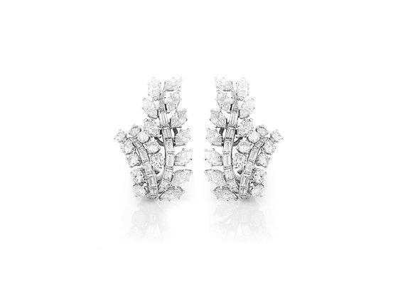 David Webb Diamond Earrings front view