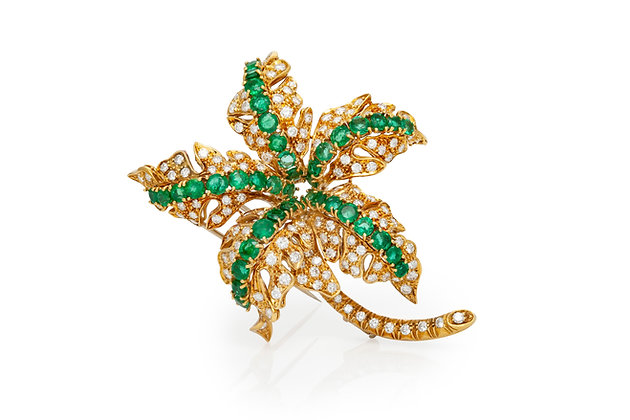 Diamond Emerald Leaf Brooch Front View