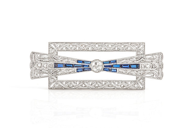 Art Deco Diamond and Sapphire Brooch