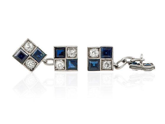 Art Deco Cufflinks with Diamonds and Sapphires