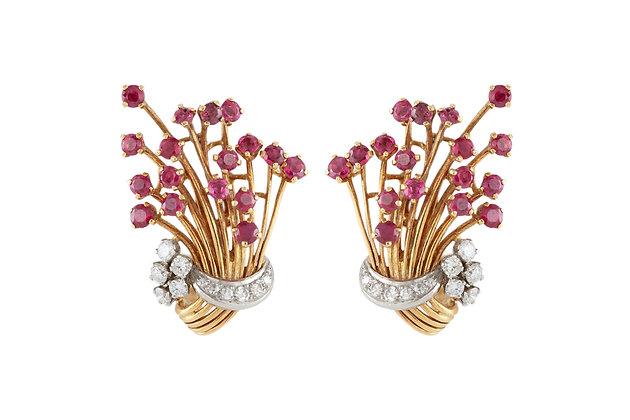Yellow Gold Bouquet Clip-On Earrings front