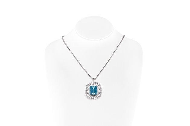Aquamarine Diamond Pendant Necklace On Neck View