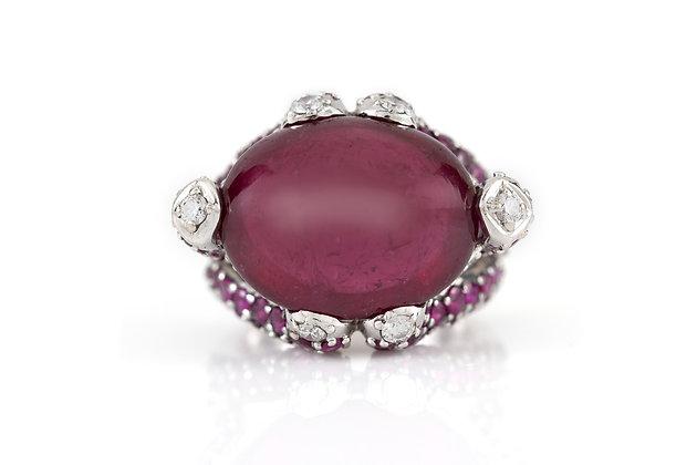 12 ct Rubellite Diamond Ruby Ring top
