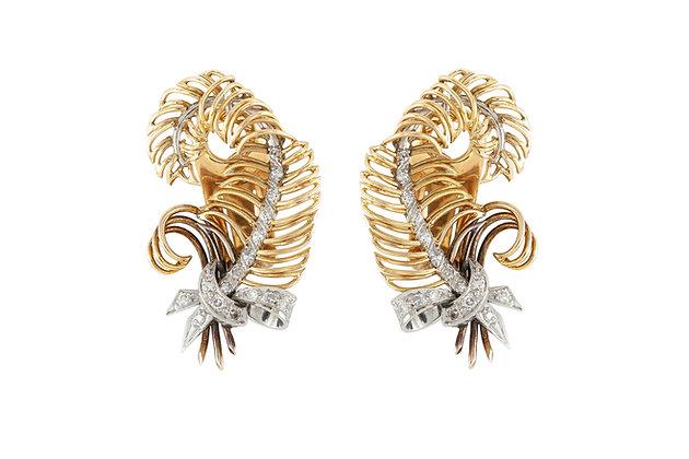 Diamond Gold Clip-On Earrings front