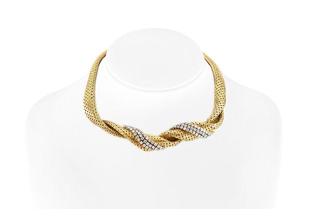 Spiral Diamond Choker Necklace on neck