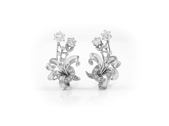 Diamond Earclip Earrings front view