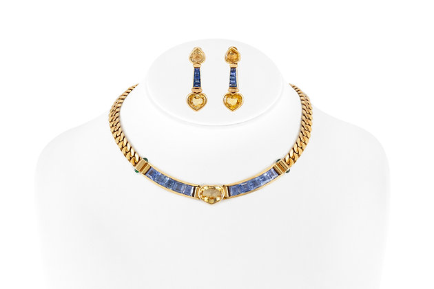 Bvlgari Sapphire Necklace And Earrings Set