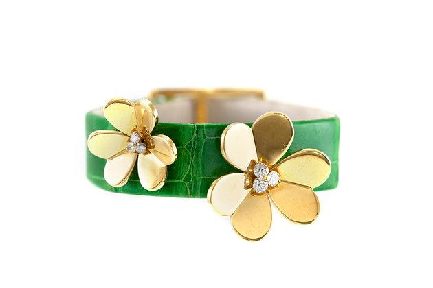 Van Cleef & Arpels Frivole Bracelet in Green Crocodile Strap with Diamonds