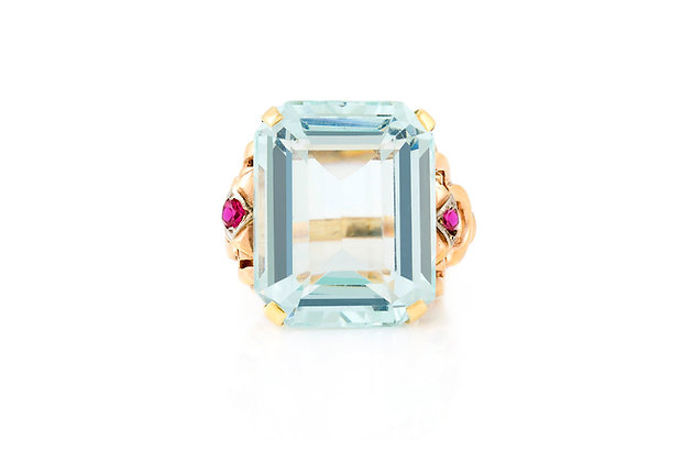Aquamarine And Ruby Ring front view